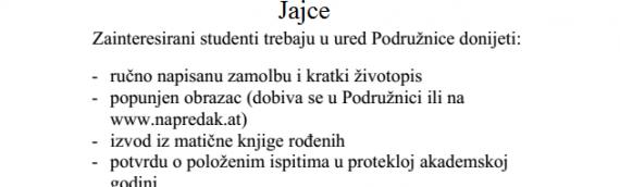 """Natječaj za dodjelu dvije stipendije iz fonda """"Jukić"""""""